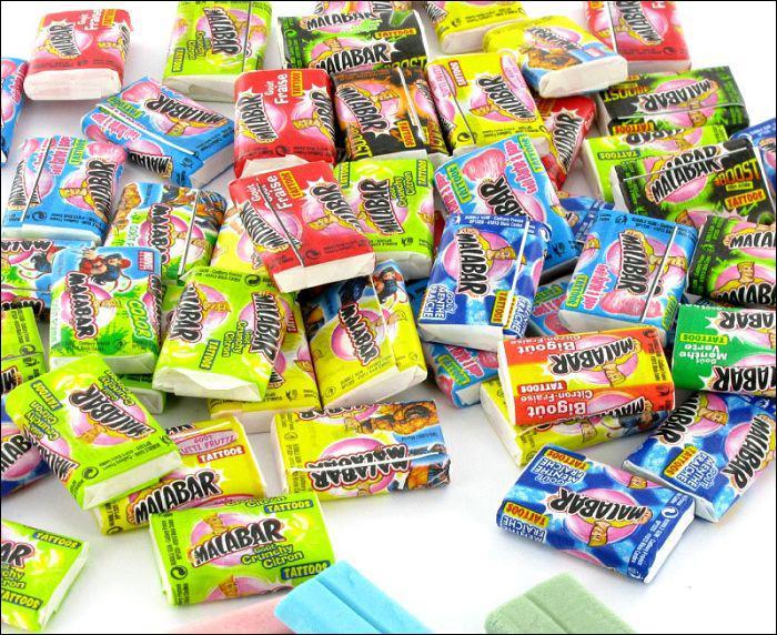 Bonbons servant à faire d'énormes bulles, ce sont les ... ?