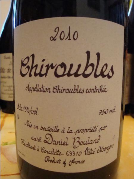 Le vin était un Chiroubles, c'est un :