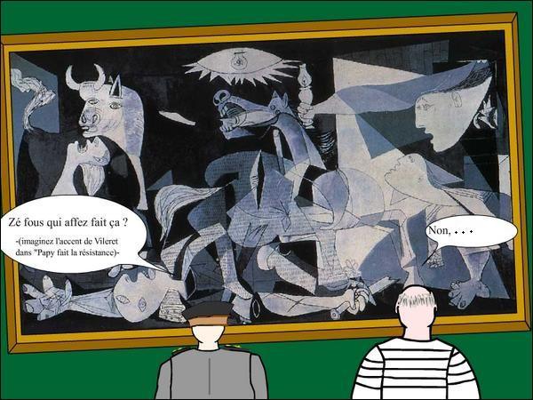 """Picasso vivait à Paris et exposait certaines de ses œuvres dont Guernica. Un jour, un officier allemand entre dans sa galerie et reste devant cette toile. Surpris il demande : """"C'est vous qui avait fait ça""""? Que lui répond alors Picasso ?"""