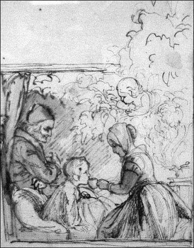 1845. Au milieu de l'arbre une charmante vieille dame était assise. Sa drôle de robe était-elle faite d'étoffe ou de verdure et de fleurs vivantes ?