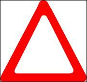 Ce panneau triangulaire à fond blanc et au rebord rouge signale...