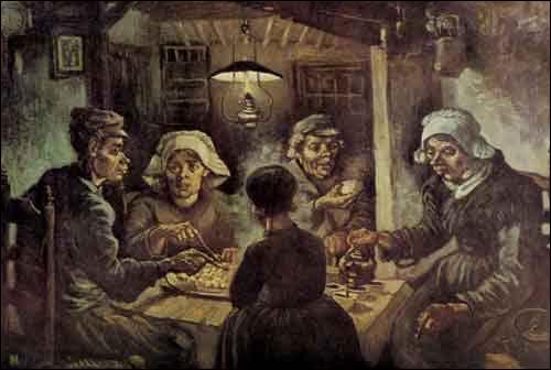 """Quel artiste, plus connu pour avoir peint une série de tournesols, et pour avoir réalisé """"La nuit étoilée"""" a peint les mangeurs de pommes de terre"""" ?"""
