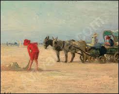 """Qui a peint """"Scène de plage animée avec Pierre faisant un château de sable"""" ?"""