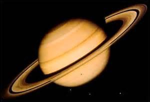 Cette planète est une boule géante de liquide et de gaz. Vue de la Terre, elle semble entourée de deux larges anneaux. En fait, il s'agit de milliers d'anneaux très fins. Elle a plus de lunes que les autres planètes du système solaire. On en compte au moins dix-huit. Quel est son nom ?