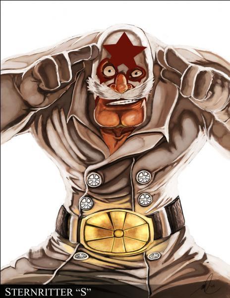 Passons à un personnage amusant : Mask De Masculine. Sa lettre est le S pour 'The Superstar' mais quel est son pouvoir ?