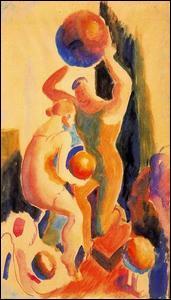 Qui a peint  Deux figures avec un ballon de plage  ?