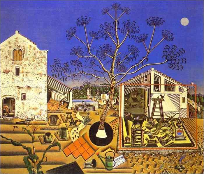 """Quel peintre espagnol surréaliste a peint """"La ferme"""" qui représente une oeuvre majeure de ses débuts dans l'art naïf ?"""