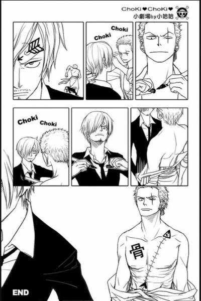 Qu'a dessiné Sanji sur le torse de Zoro ?