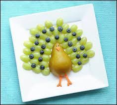 Quel est donc ce bel oiseau qui s'invite à la table pour le dessert ? Composé de raisins, de myrtilles (ou groseilles pour d'autres couleurs) et d'une demi-poire, c'est ?