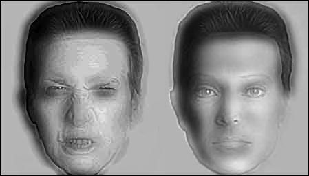 Regardez bien ces 2 visages, en vous reculant de quelques mètres, vous remarquez que :