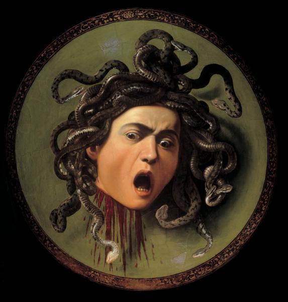 Quel personnage mythologique est ici représenté par Le Caravage avec la tête coupée ?