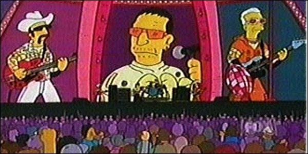 Lors de leur concert, Homer monte sur la scène pour convaincre les habitants de Springfield de voter pour lui aux élections de responsable de l'assainissement et des déchets. De quel groupe s'agit-il ?