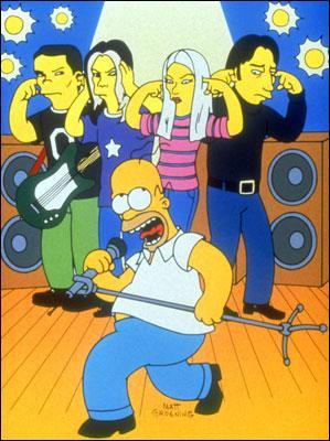 Homer les rencontre lors du festival Hullabalooza. De quel groupe s'agit-il ?