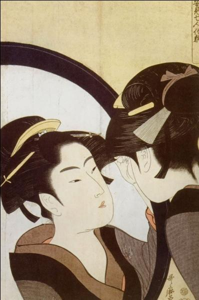 Comment se nomme le peintre d'estampes japonais, reconnu pour ses portraits de femmes aux tons de noir prédominants ?