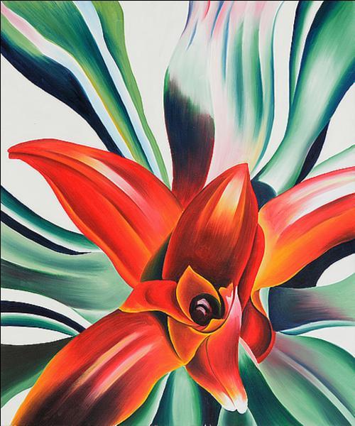 Quelle femme peintre du XXe siècle est notamment connue pour ses tableaux de fleurs en gros plan, quasi-abstraits ?