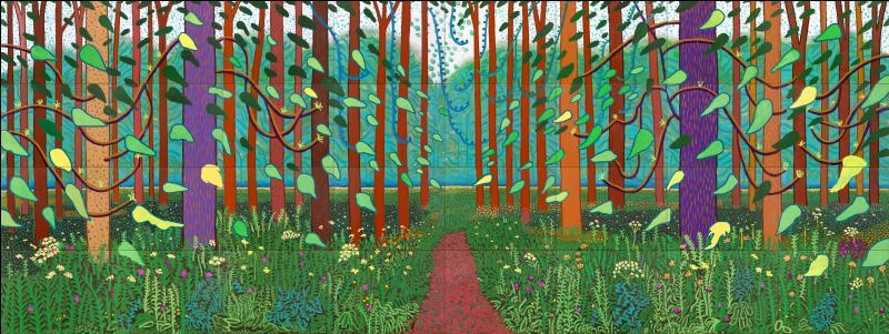 """Qui est l'auteur de la série des """"piscines"""", avant d'avoir connu la notoriété pour ses immenses toiles champêtres aux couleurs très vives ?"""