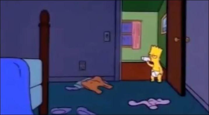 Bart a surpris une fois ses parents dans leur chambre, dans une position bien fâcheuse. Quelle a été sa réaction ?