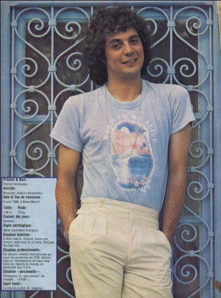 1979. Patrick Hernandez a connu un succès mondial avec ce titre disco !