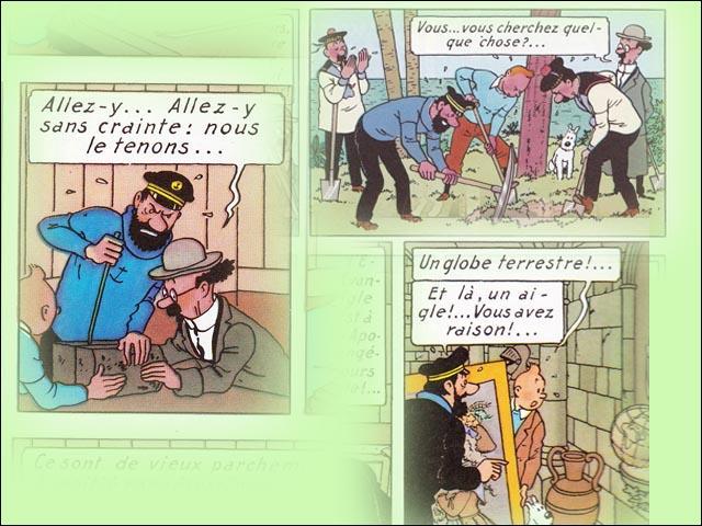Tintin découvre le trésor de Rackham Le Rouge. Mais où trouve-t-il les éléments ?