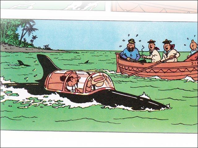 Le professeur Tournesol a inventé un petit sous-marin . Quel en était la forme ?
