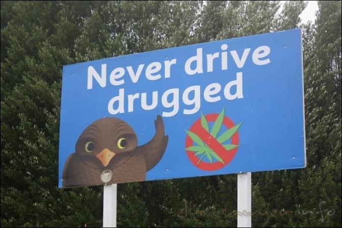 Pour commencer, ce kiwi nous le dit : 'Il ne faut pas conduire drogué'. Là, le pays nous est donné. : -)