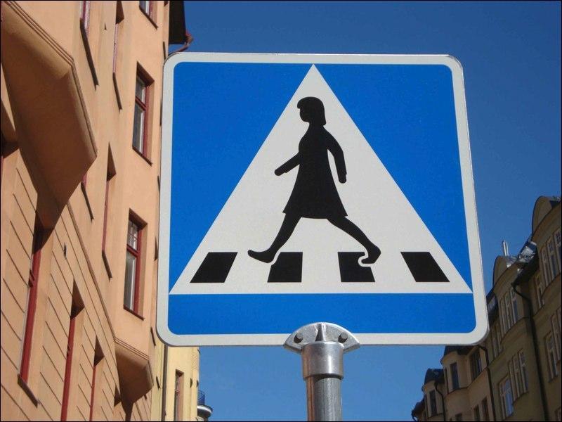 Dans ce pays, il semble que seules les femmes ont le droit d'emprunter les passages pour piétons. Carl XVI Gustaf peut aller se faire écraser.