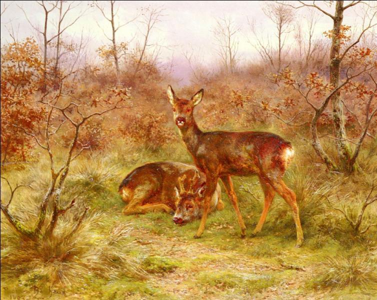 Qui a peint Couple de chevreuils dans la forêt de Fontainebleau ?