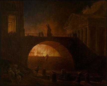 """""""L'Incendie de Rome"""", réalisé vers 1875 est l'oeuvre d'un peintre français du 18e siècle, célèbre pour ses représentations imaginaires de paysages en ruines. Qui est-il ?"""