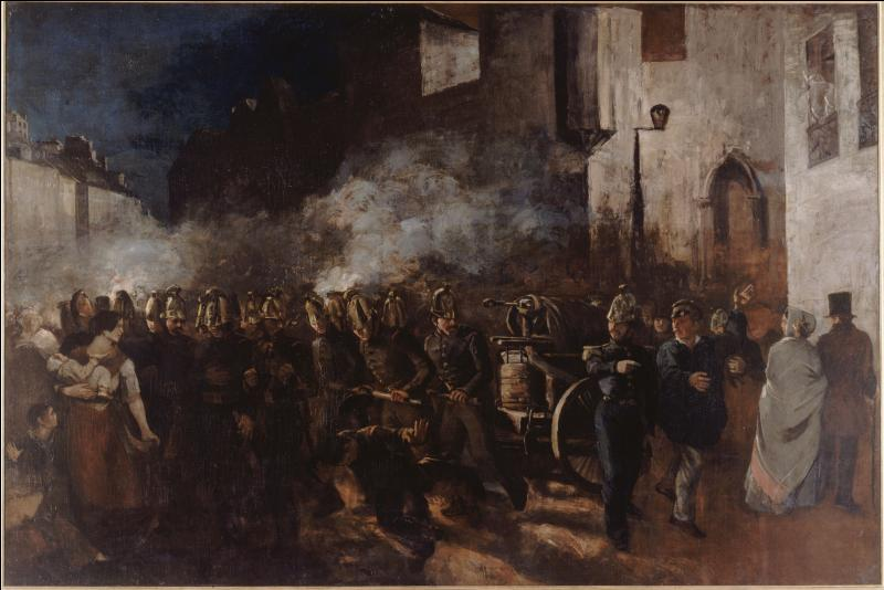 """A quel peintre réaliste doit-on ce tableau intitulé """"Le départ des pompiers courant à un incendie"""" réalisé en 1851 ?"""