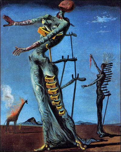 """Quel célèbre peintre surréaliste a imaginé cette """"Girafe en feu"""", réalisée en 1937 ?"""