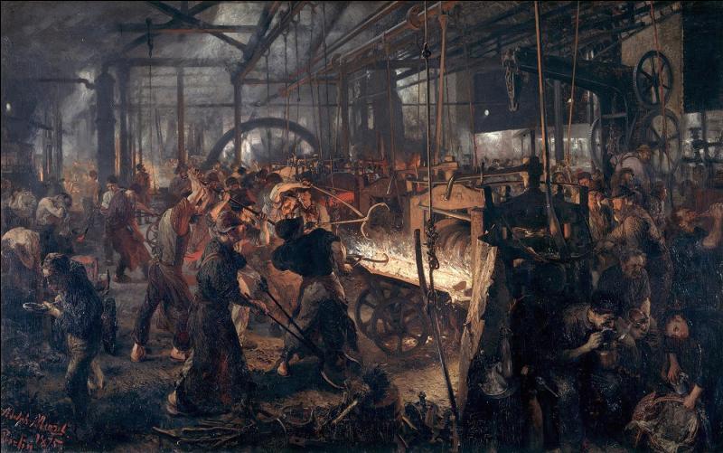 """Ce tableau très réaliste intitulé """"La Forge ou les cyclopes modernes"""", nous plonge au coeur du travail d'ouvriers de la sidérurgie au 19e siècle. Quel peintre allemand en est l'auteur ?"""