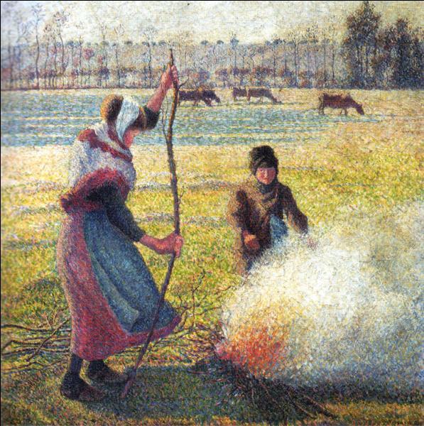 """De qui est ce tableau intitulé """"Jeune paysanne faisant du feu, gelée blanche"""", réalisé vers 1888 ?"""