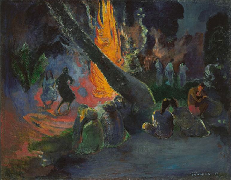 """A quel celèbre peintre, chef de file de l'Ecole de Pont-Aven, inspirateur des nabis, doit-on cette toile intitulée """"Upa-upa, la danse du feu"""" ?"""