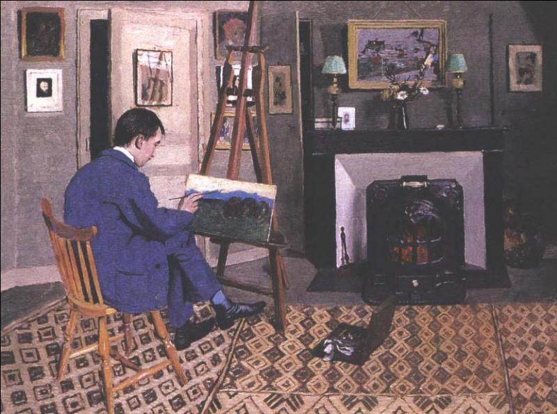 """Quel peintre nabi, auquel fut consacrée une exposition au Petit Palais intitulée """"Le feu sous la glace"""", a représenté son beau-fils Max Rodriguez dans son atelier en 1900 ?"""