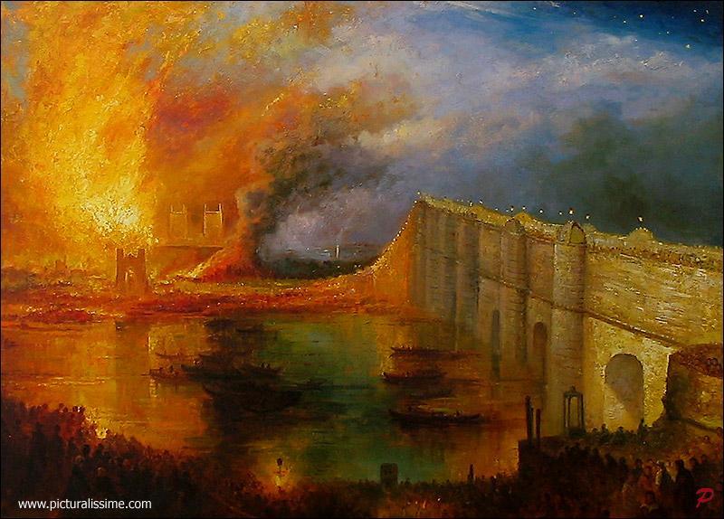 """Surnommé le """"peintre de la lumière"""", aquarelliste et graveur, il fut témoin du grand incendie qui frappa le Parlement de Londres en 1834, et réalisa quatre versions de """"L'Incendie de la Chambre des Lords et des Communes"""". Qui est-il ?"""