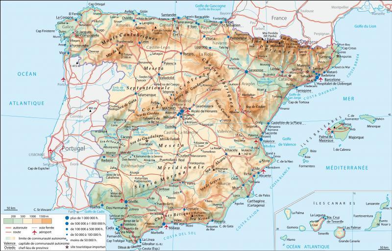 L'Espagne et la France ont 942 km de frontière commune.