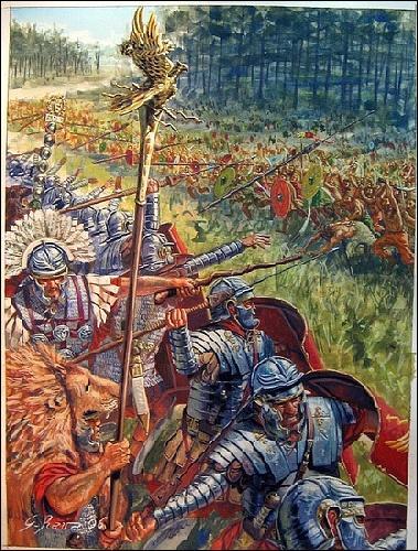 En 9 av J.C : pendant quelle bataille, l'armée romaine est écrasée par les barbares germains, quinze mille légionnaires y trouveront la mort ?
