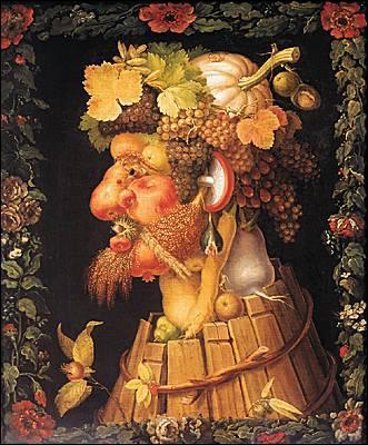 Giuseppe Arcimboldo (1527-1593), peintre maniériste italien, a réalisé une série de quatre portraits liés aux saisons. 'L'Automne' est un homme mûr et barbu. Quel fruit tient une place prépondérante dans cette œuvre ?