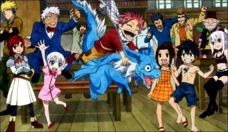 Sur cette image, ce sont tous les premiers enfants arrivés à Fairy Tail ! Mais qui est donc ce dragon bleu ?