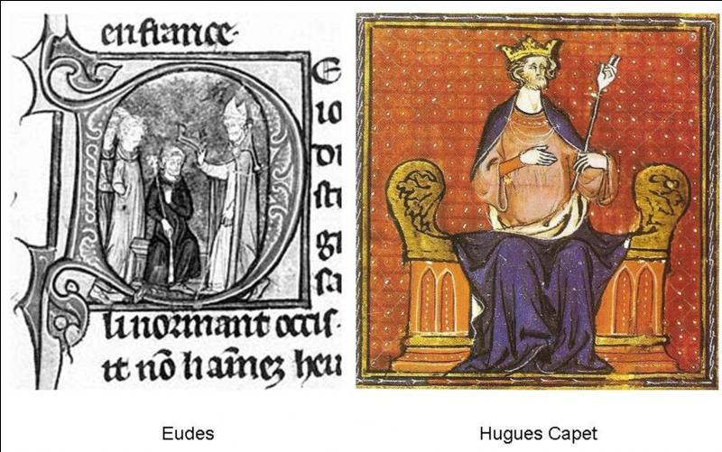 Pendant la dynastie carolingienne, une famille particulière accéda par quatre fois au trône. Le dernier d'entre eux sera le premier d'une nouvelle dynastie, les Capétiens. Quels sont ces trois rois ?