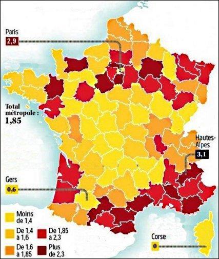 Voici une carte montrant des disparités sensibles ; l'arc méditerranéen et l'Ile-de-France arrivent en tête. Mais de quoi parle-t-elle, au juste ?