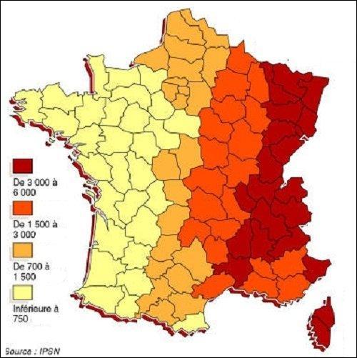 Rouge à l'est et jaune à ouest ; la France se retrouve découpée en quatre tranches. Mais des tranches de quoi ?