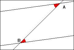 Une droite coupe deux droites parallèles en A et B. Les angles de sommets respectifs A et B (marqués en rouge) sont ...