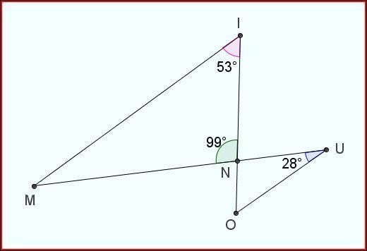 Les segments [MI] et [OU] sont parallèlles. Quelle est la mesure de l'angle de sommet M ?