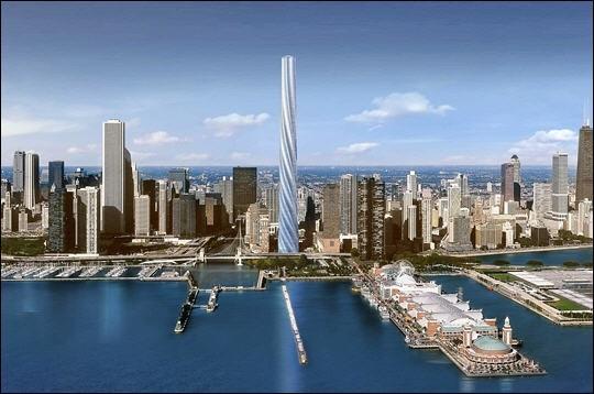 La Chicago Spire est un immeuble résidentiel en forme de spirale actuellement en construction à Chicago. Avec ses 150 étages, il devrait en 2010 devenir le plus haut bâtiment du continent américain. Quelle sera sa hauteur