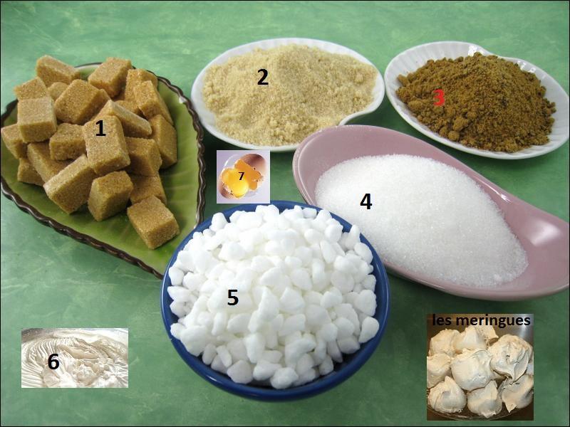 Pour faire des meringues, quel sucre faut-il mettre et quel ingrédient doit-on exclure pour obtenir la belle préparation qui est en n°6 ?