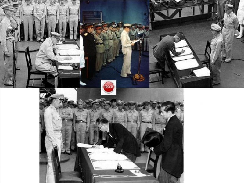 Un incident se déroula pendant les cérémonies de la signature de la capitulation japonaise le 2 septembre 1945. Elle n'y eu aucune conséquence. Que se passa-t-il ?