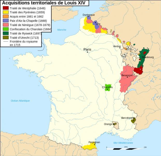 De 1665 à 1713, le territoire français s'accroît