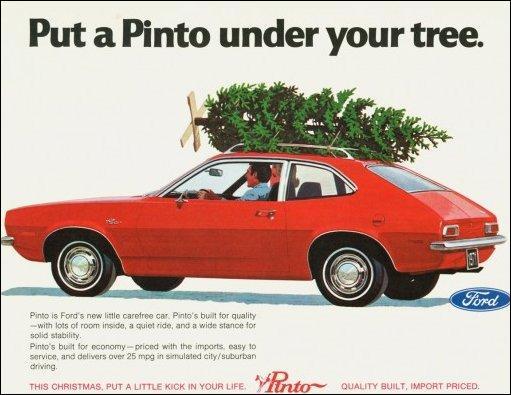 Puisque nous sommes dans le salé, voyons cette réclame des années 70 pour la « Pinto » de Ford : elle a bien fait rire au Portugal et au Brésil ! Pourquoi ?