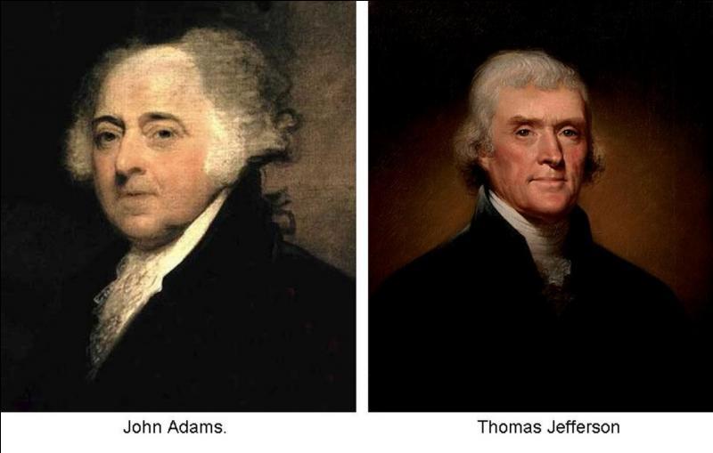 Deux points communs relient ces deux anciens présidents des Etats-Unis. Doc ; à votre avis , quels événements relient John Adams et Thomas Jefferson, deuxième et troisième présidents des Etats-Unis ?